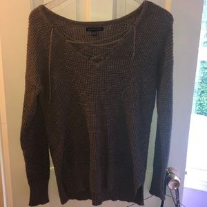 AW brown lace up sweater